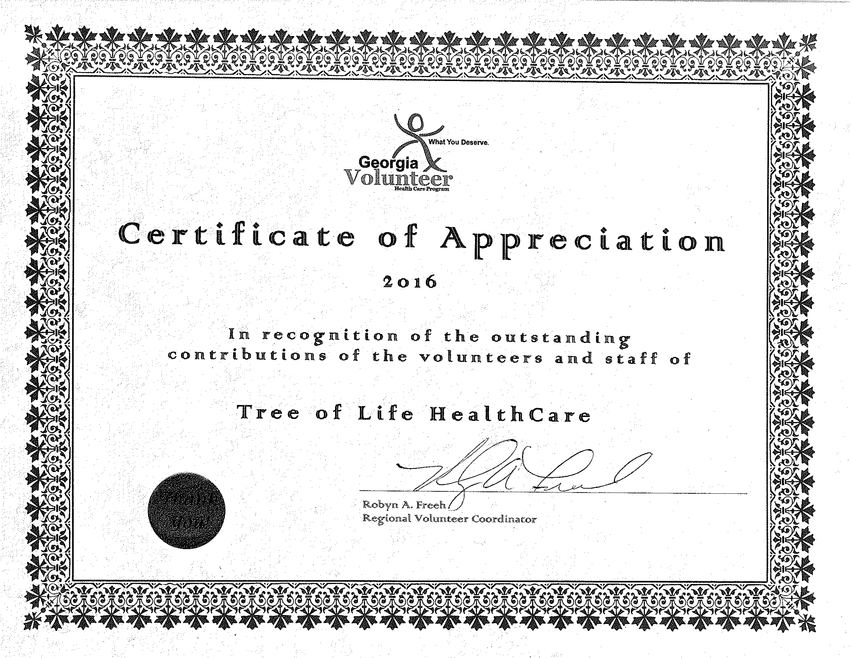 About tree of life healthcare certificate of appreciation 1 yelopaper Choice Image